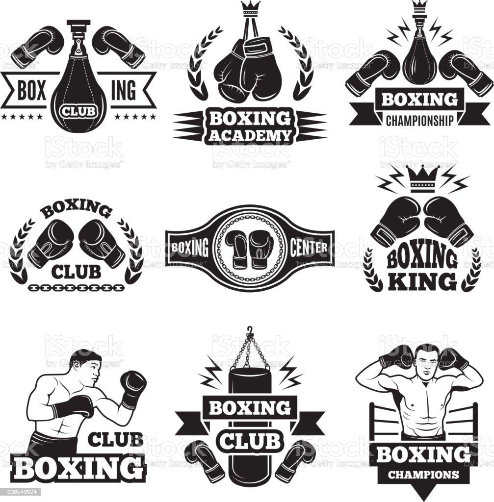 ボクシング選手権のため白黒ラベルを設定します手袋とボクサーの