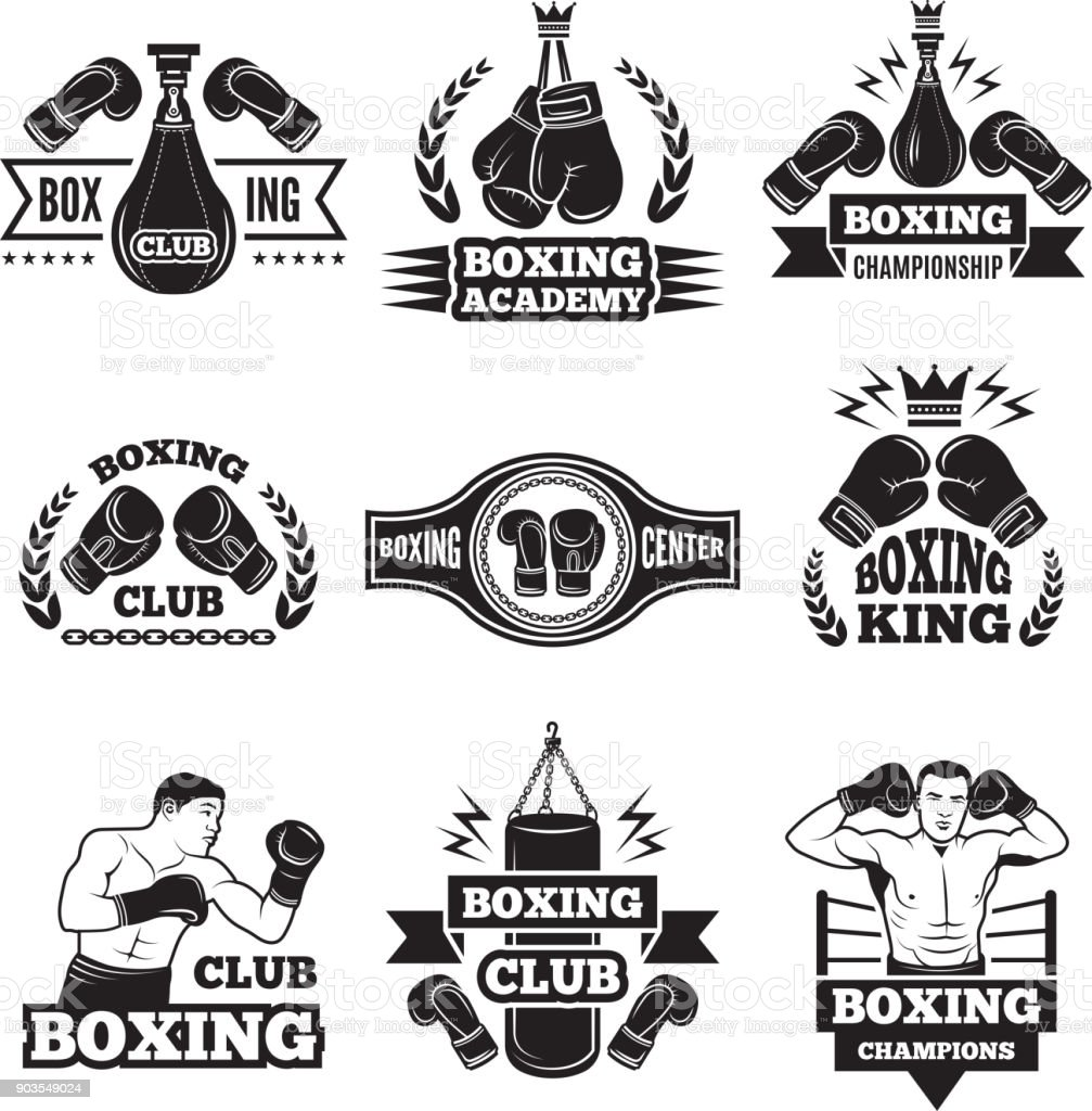 Rótulos monocromáticos definido para o campeonato de boxe. Ilustração de luvas e boxer - ilustração de arte em vetor