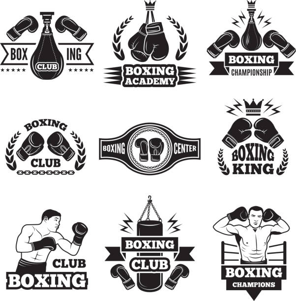 Monochrome labels set for boxing championship. Illustration of gloves and boxer vector art illustration