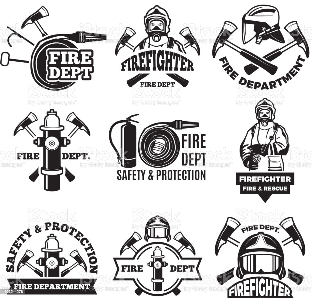 Monochrome labels set for fire department. Pictures of fireman vector art illustration