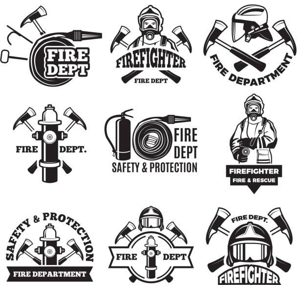 Monochrome labels set for fire department. Pictures of fireman vector art illustration