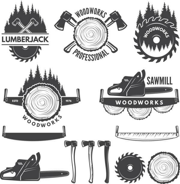 illustrazioni stock, clip art, cartoni animati e icone di tendenza di etichette monocromatiche incastonate con boscaiolo e immagini per l'industria del legno - industria forestale