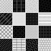 Vector illustration 16 monochrome line geometric seamless patterns.