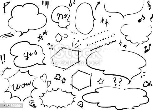 istock Monochrome manga balloon motif set 1162899594