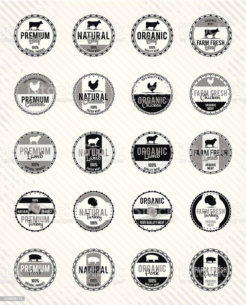 Monochrome Meat Labels Collection vector art illustration