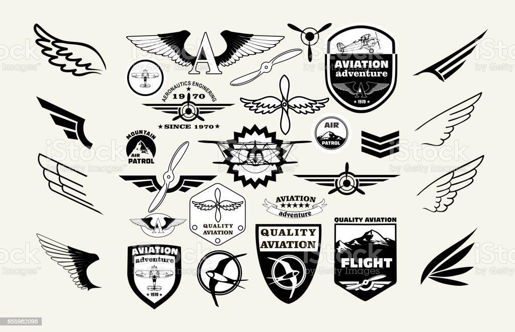 Monocromo Mega Set de emblemas retros, diseño de elementos, insignias y parches insignia de la aviación de tema - ilustración de arte vectorial