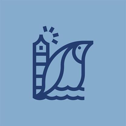 Monochrome, Minimalist, Modern Penguin And Light House Tower Monoline Icon Logo