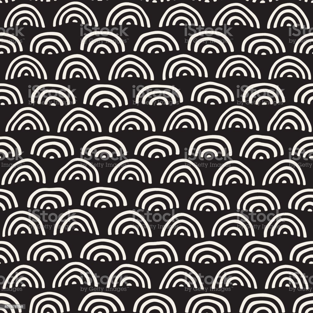 Monochrome minimalistic seamless pattern with arcs. Simple hand drawn texture. Vector background with rounded inky lines vector art illustration