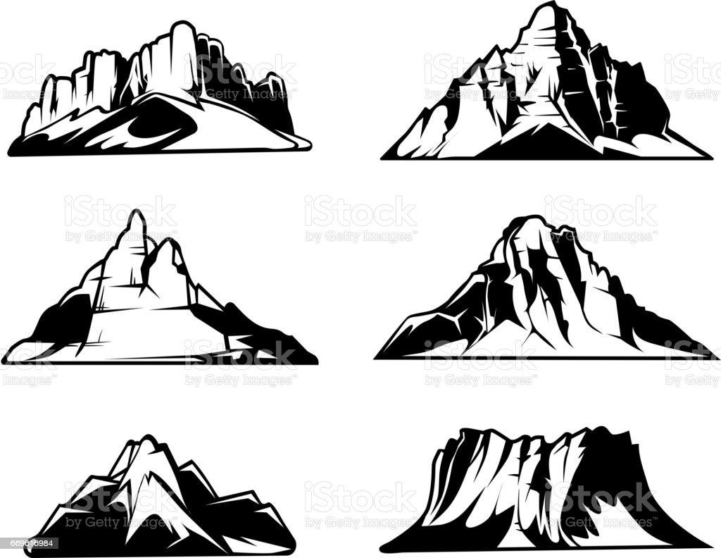 白黒山はベクトル シルエットです雪に覆われた山脈屋外デザイン