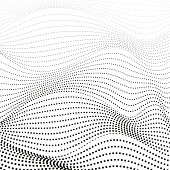 Monochrome op art design. Black dotted squiggle lines. Abstract background, deformed surface. Vector pattern. Scientific waving concept. EPS10 illustration