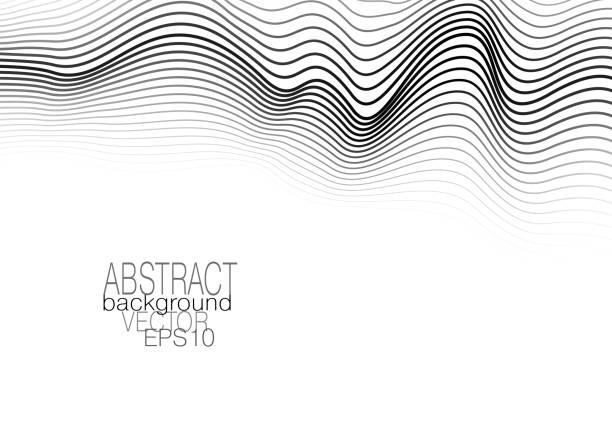 monochrome op art pattern on white background. modern template with waving lines. vector abstract layout for brochure, leaflet, flyer, book, poster, presentation. eps10 illustration - rytm stock illustrations