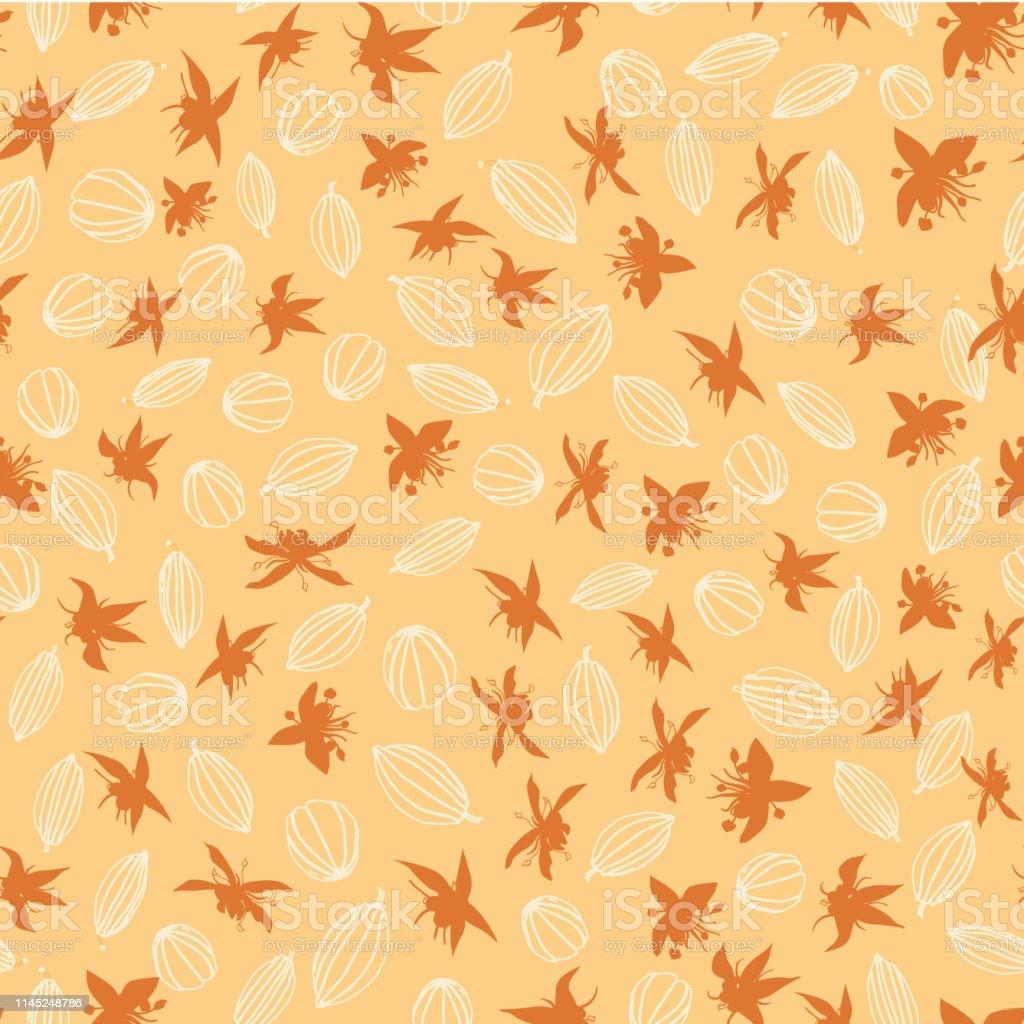 モノクロオレンジラインアートココアポッドとココアの花のシルエット