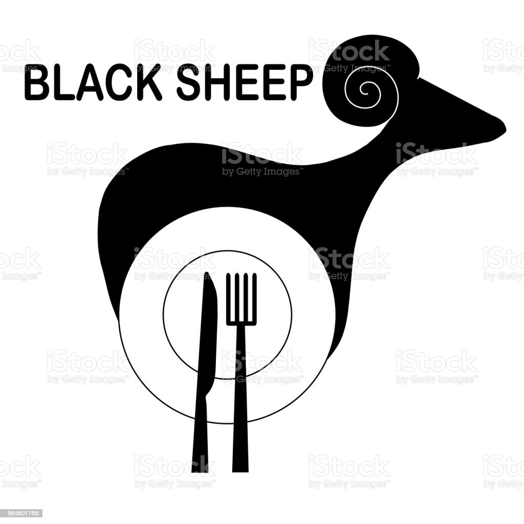 Monochrome original logo for cafe and restaurant. Stylized black sheep, plate, spoon, fork on white royalty-free monochrome original logo for cafe and restaurant stylized black sheep plate spoon fork on white stock vector art & more images of design element