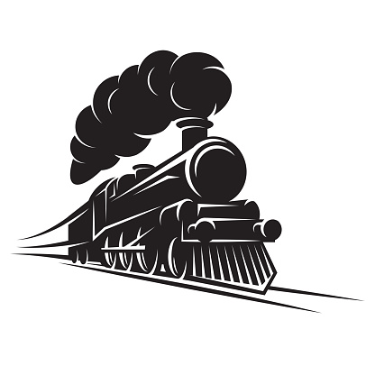 Monochrome pattern for design with retro train on rails. Vector scalable illustration.
