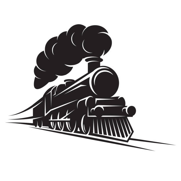 illustrations, cliparts, dessins animés et icônes de modèle monochrome pour la conception avec rétro train sur rails. illustration de scalable vector. - train