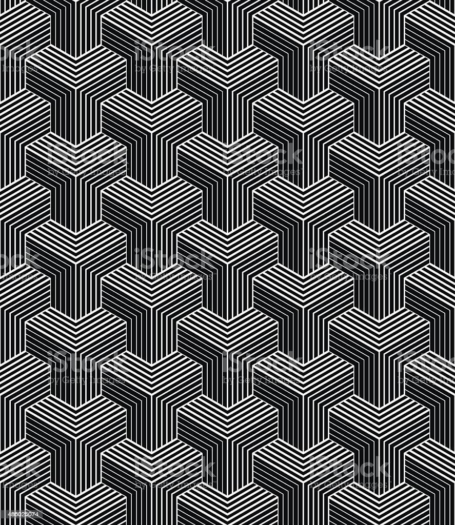 monochrome pattern of striped isometric blocks vector art illustration