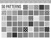 A set of 50 monochrome patterns. Various patterns are included in the set.