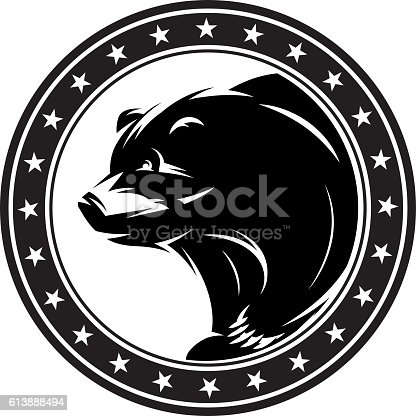 monochrome vector pattern with bear for a logo or packaging