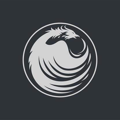Monochrome Phoenix Bird Symbol Vector Illustration