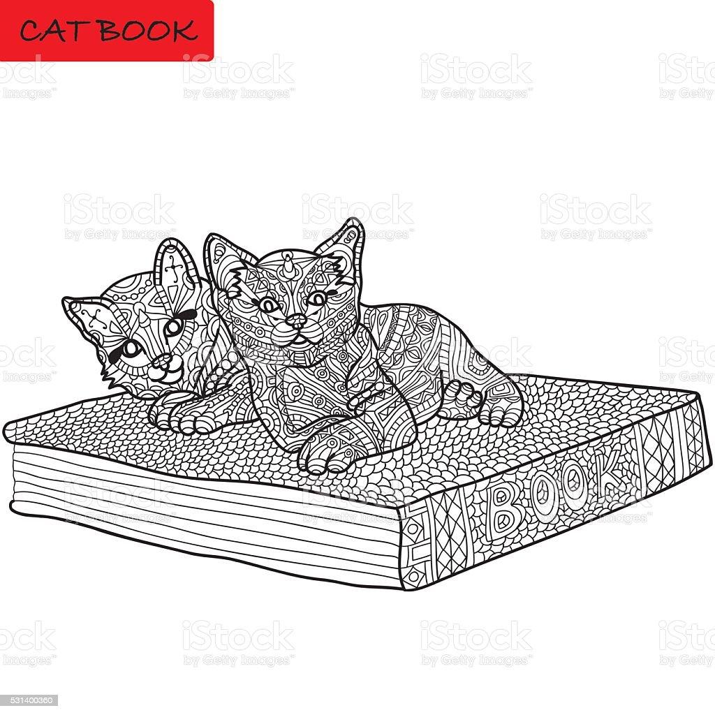 Monochromatyczne Obraz Kot Kolorowanka Książki Dla Osób Dorosłych
