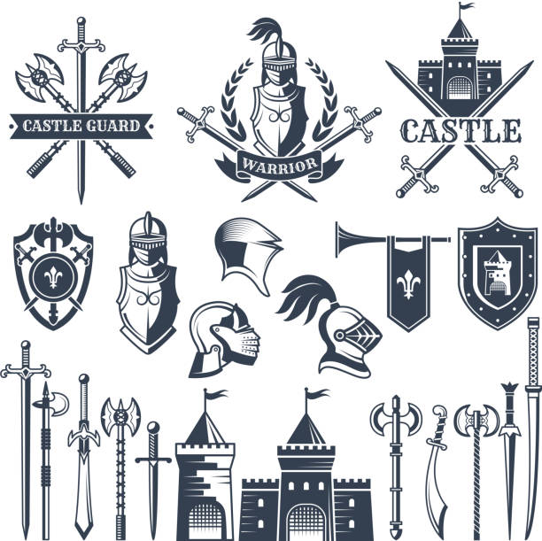 monochrome pictures and badges of medieval knight theme. illustrations of helmets, swords - knight in shining armor stock illustrations, clip art, cartoons, & icons