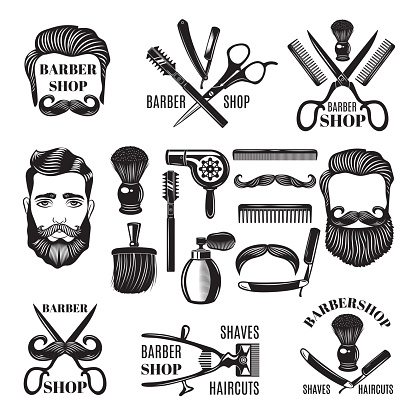 Monochrome pictures of barber shop tools. Vector illustrations for labels
