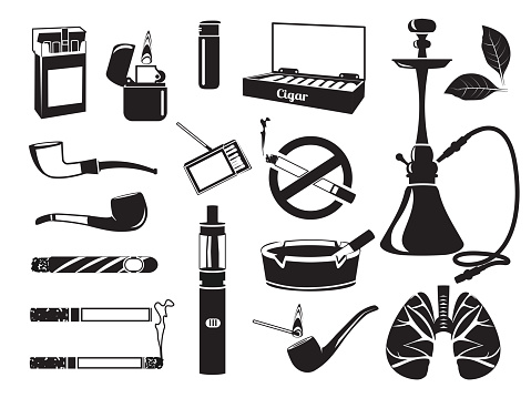 Monochrome pictures of hookah, tobacco leaves, cigars cigarettes and other tools for smokers