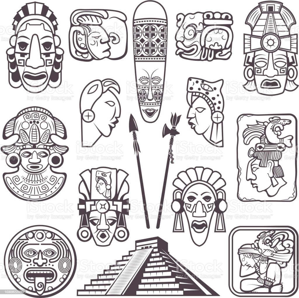 Monochrome Pictures Set Of Mayan Culture Symbols Tribal Masks And