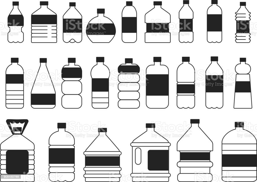 Monocromo fotos set de botellas de plástico. Símbolos de embalaje - ilustración de arte vectorial