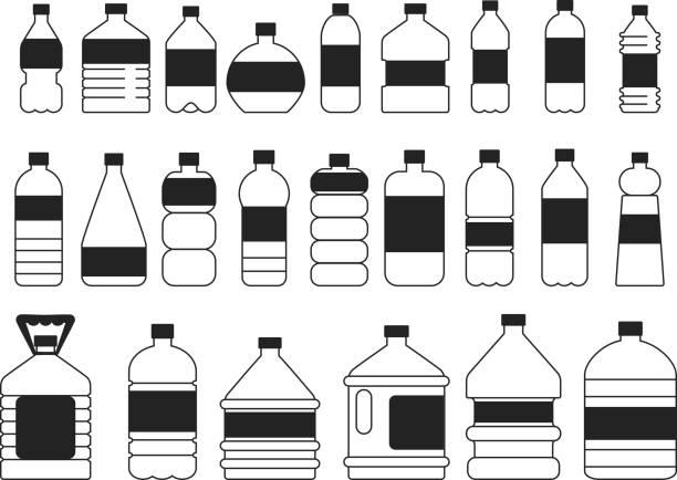 illustrations, cliparts, dessins animés et icônes de monochrome photos ensemble de bouteilles en plastique. symboles de l'emballage - bouteille d'eau