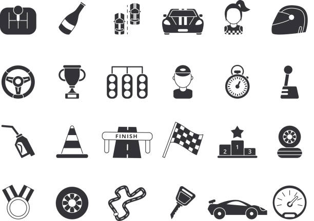 monochrome pictures set of sport symbols for formula 1 and racing cars - formula 1 stock illustrations
