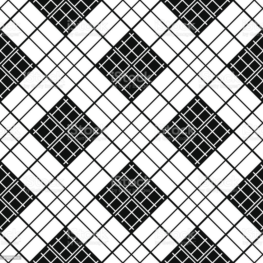 Monochrome plaid fabric background. Abstract seamless vector pattern. royalty-free stock vector art