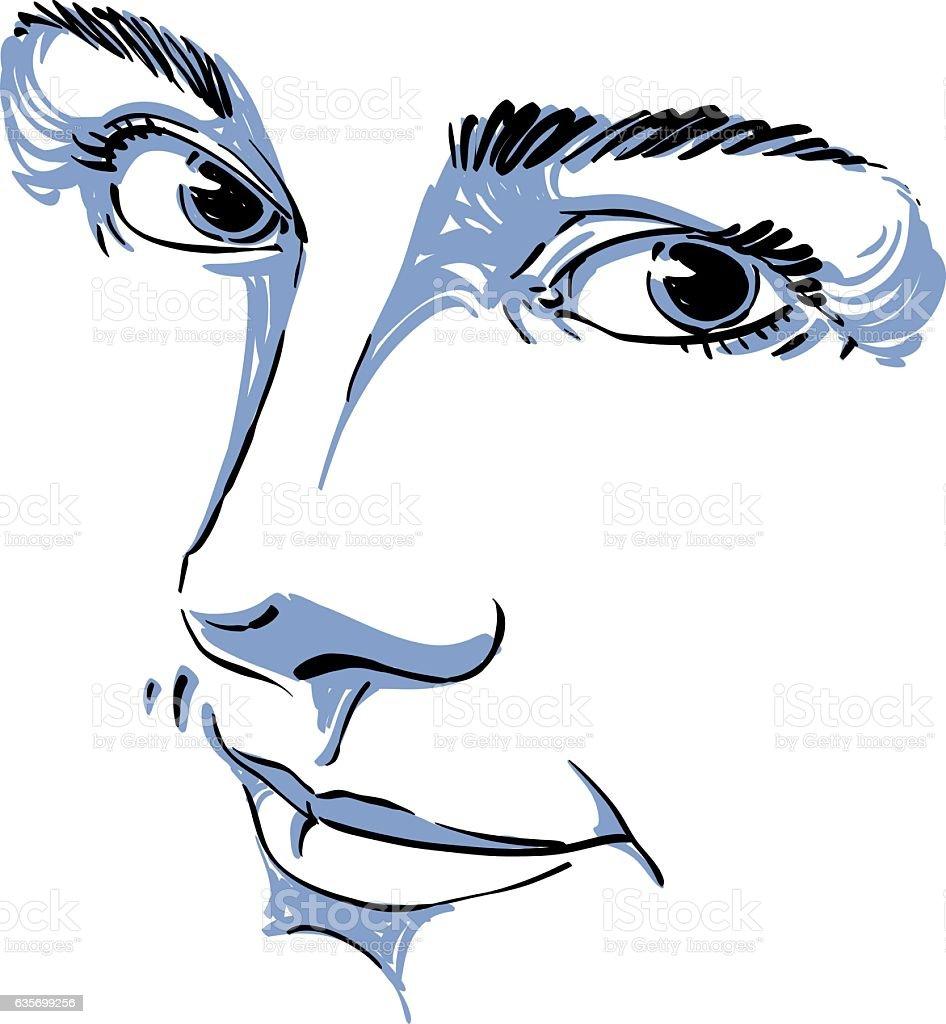 Monochrome portrait of delicate dreamy still woman, royalty-free monochrome portrait of delicate dreamy still woman stock vector art & more images of adult