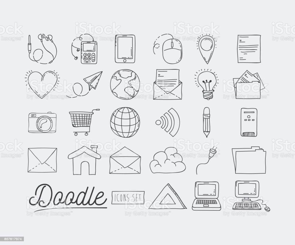 monochrome Plakat handgezeichnete mit Satz von informationstechnischen Geräten und Internet-Ikonen und Office-Tools des täglichen Gebrauchs – Vektorgrafik