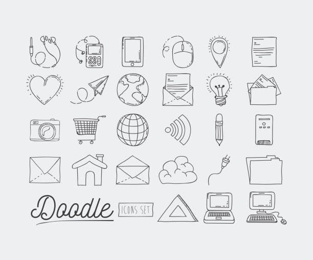 monochrome poster hand drawn with set of technology devices and internet icons and office tools of daily use - electrical wiring home stock illustrations, clip art, cartoons, & icons