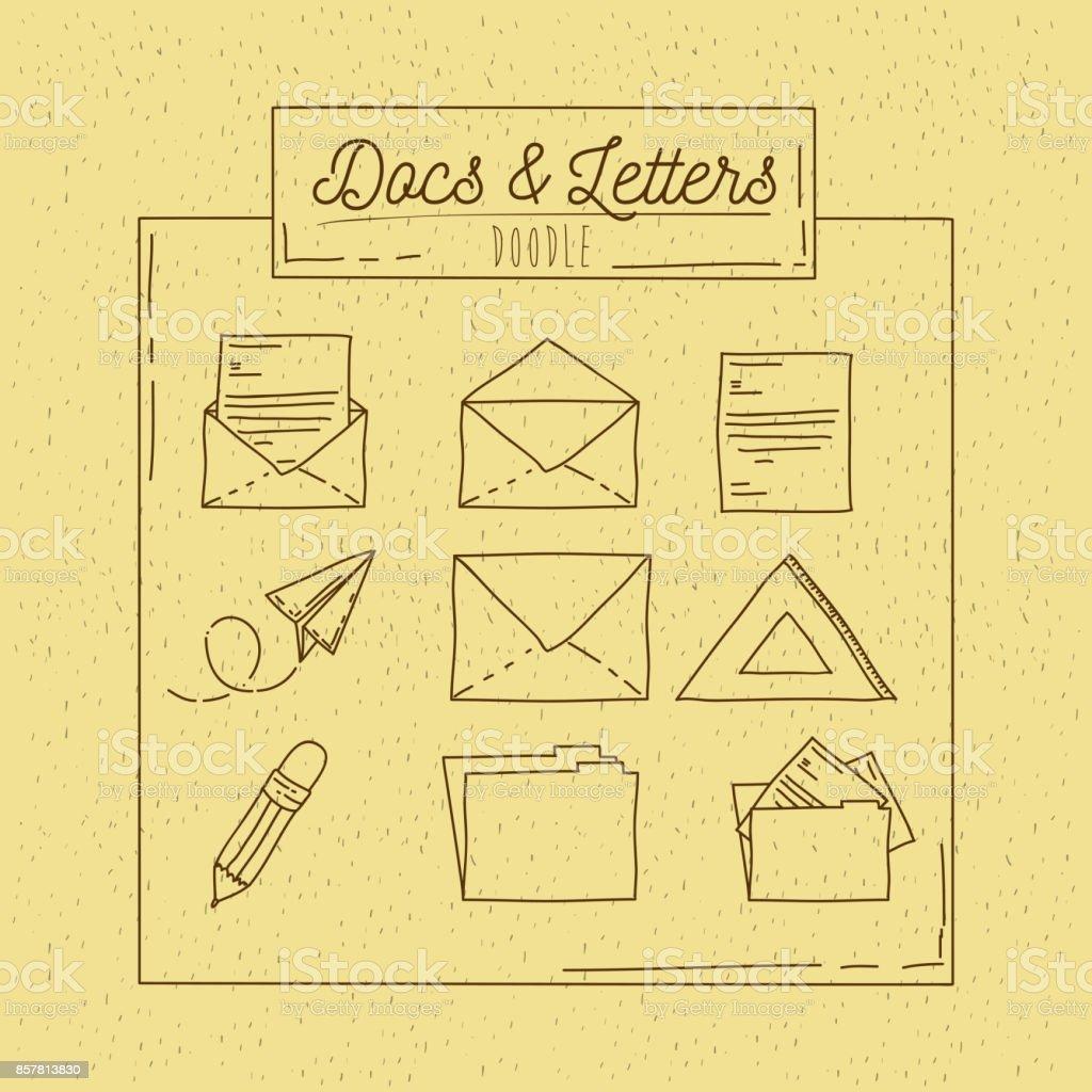monochrome Plakat handgezeichnete mit Blatt Buchstaben und Office-Ordner – Vektorgrafik