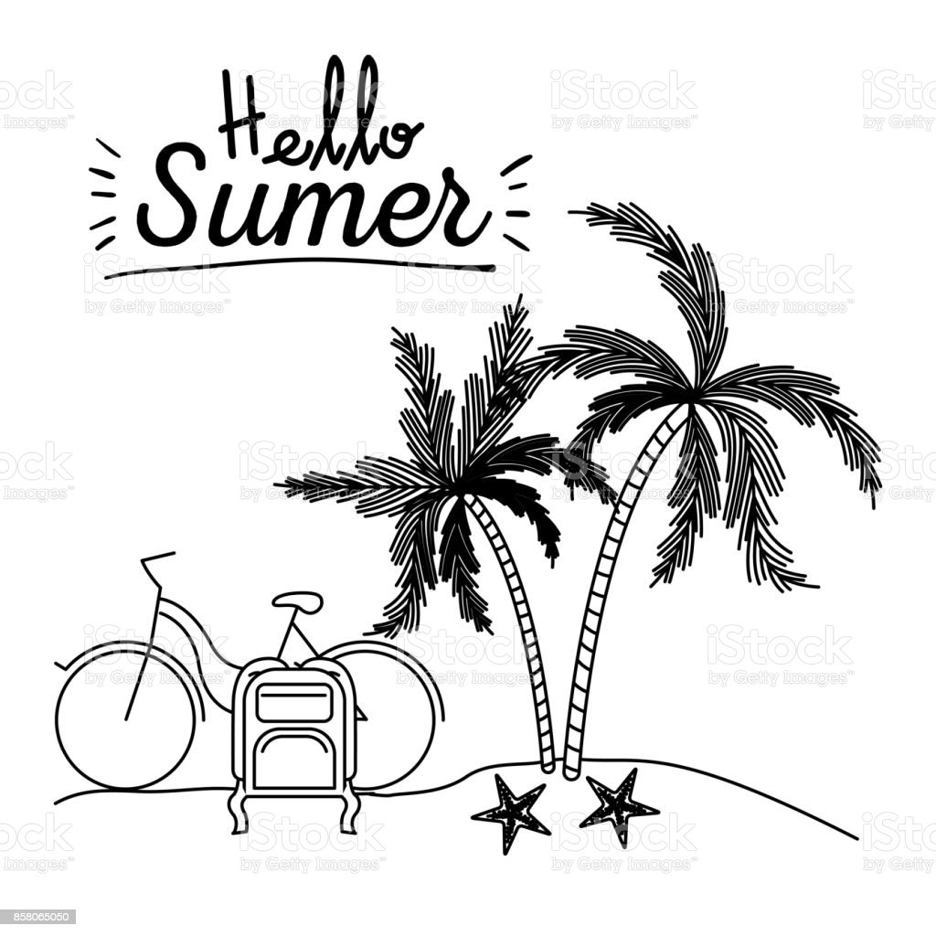 monochrome poster of hello summer with landscape in beach with bike and luggage next to palm trees vector art illustration