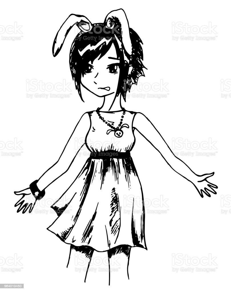 Monochrome Kaninchen Madchen Anime Manga Comic Skizzierte Kunst