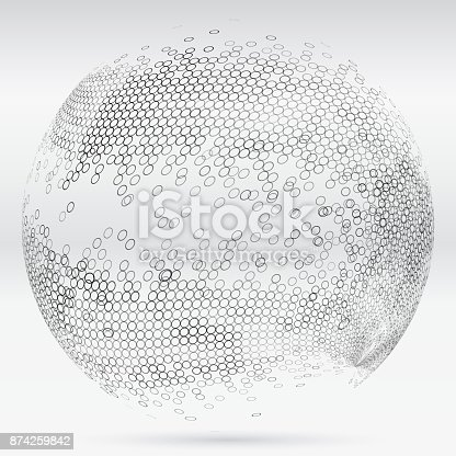 Monochrome Ring Textured Sphere Pattern