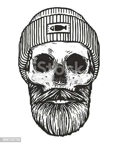 monochrome sailor skull with beards and mustache