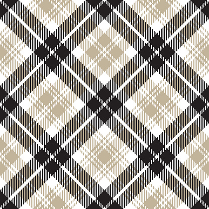 Monochrome Scottish Tartan Plaid Textile Pattern