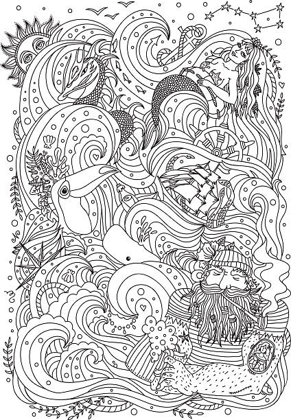 Monochrome sea ornament for adult coloring book. Monochrome ornament for adult coloring book. Sea theme - old sailor, mermaid, exotic creatures, ship, fishes, ocean waves. coloring book pages templates stock illustrations