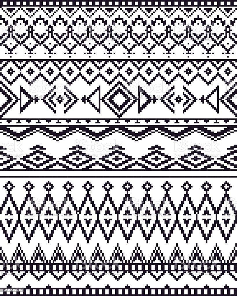 Monocromo de patrones de fondo sin costuras con píxeles en Azteca tribal estilo. - ilustración de arte vectorial