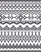 Monochrome seamless background with pixel pattern in aztec tribal style.