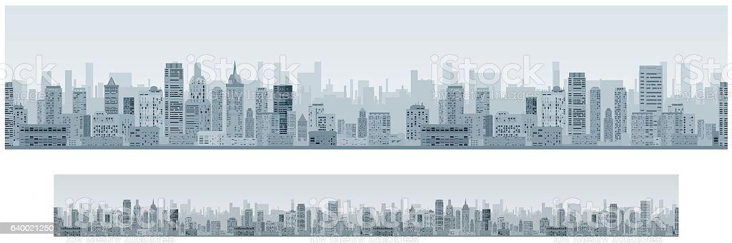 Monochrome Seamless Cityscape Banner Background vector art illustration