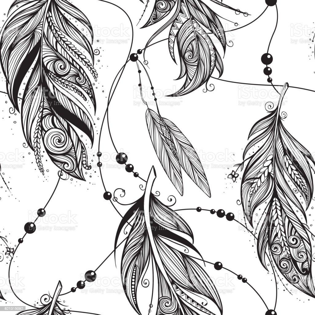 Monocromático padrão sem emendas de penas de aves - ilustração de arte em vetor