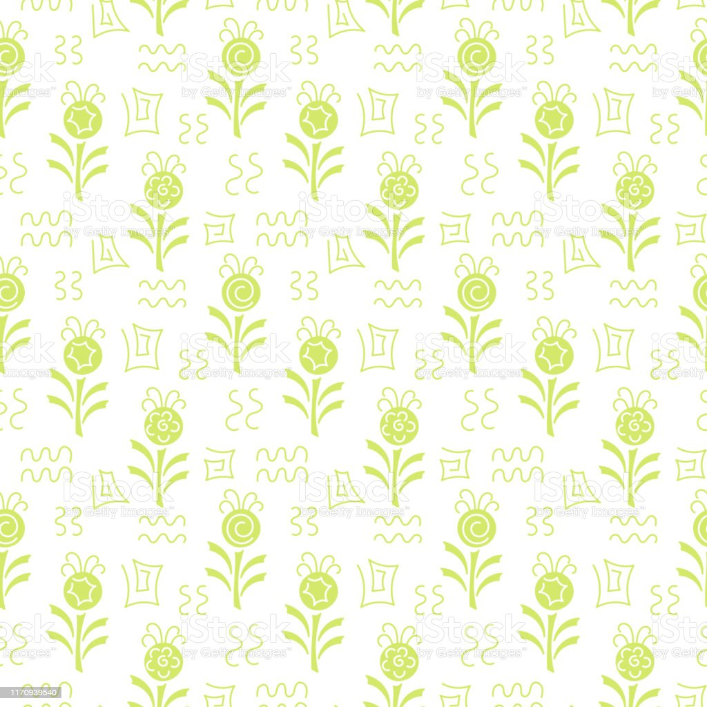 Monochrome Seamless Pattern Simple Flat Floral Motif Suitable For