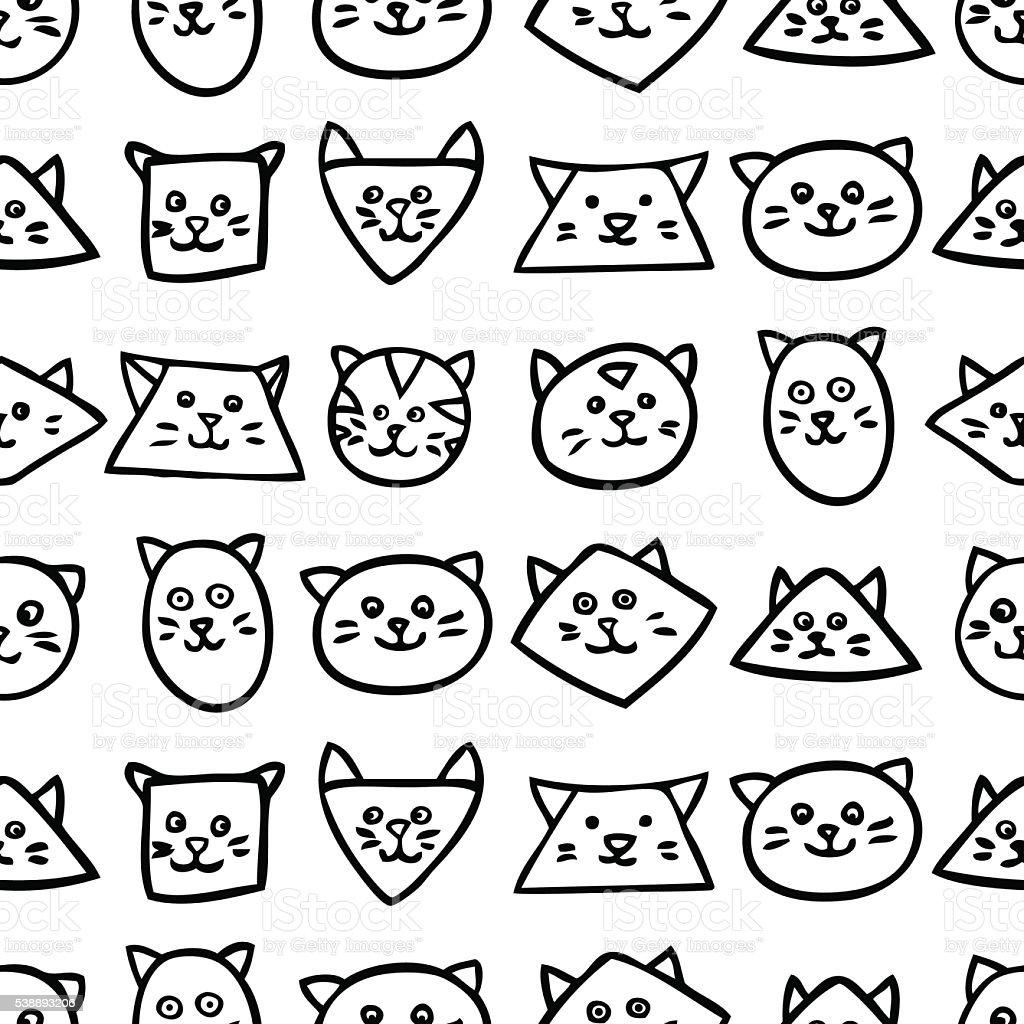 モノクロの継ぎ目のないパターン白を背景にした猫の顔 のイラスト素材