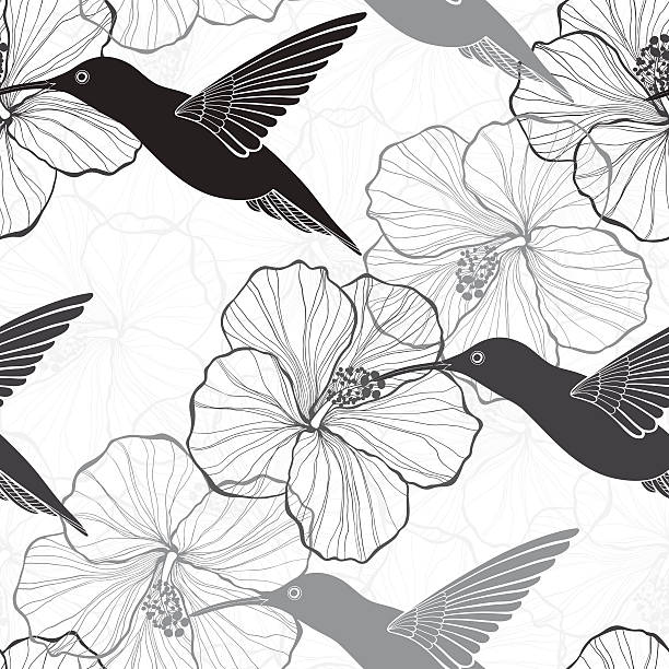 Monochrome seamless pattern with hibiscus flowers and hummingbirds. vector art illustration