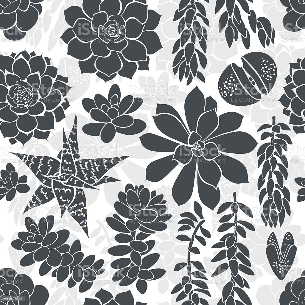 Monochrome seamless pattern with silhouettes of different succulents. vector art illustration